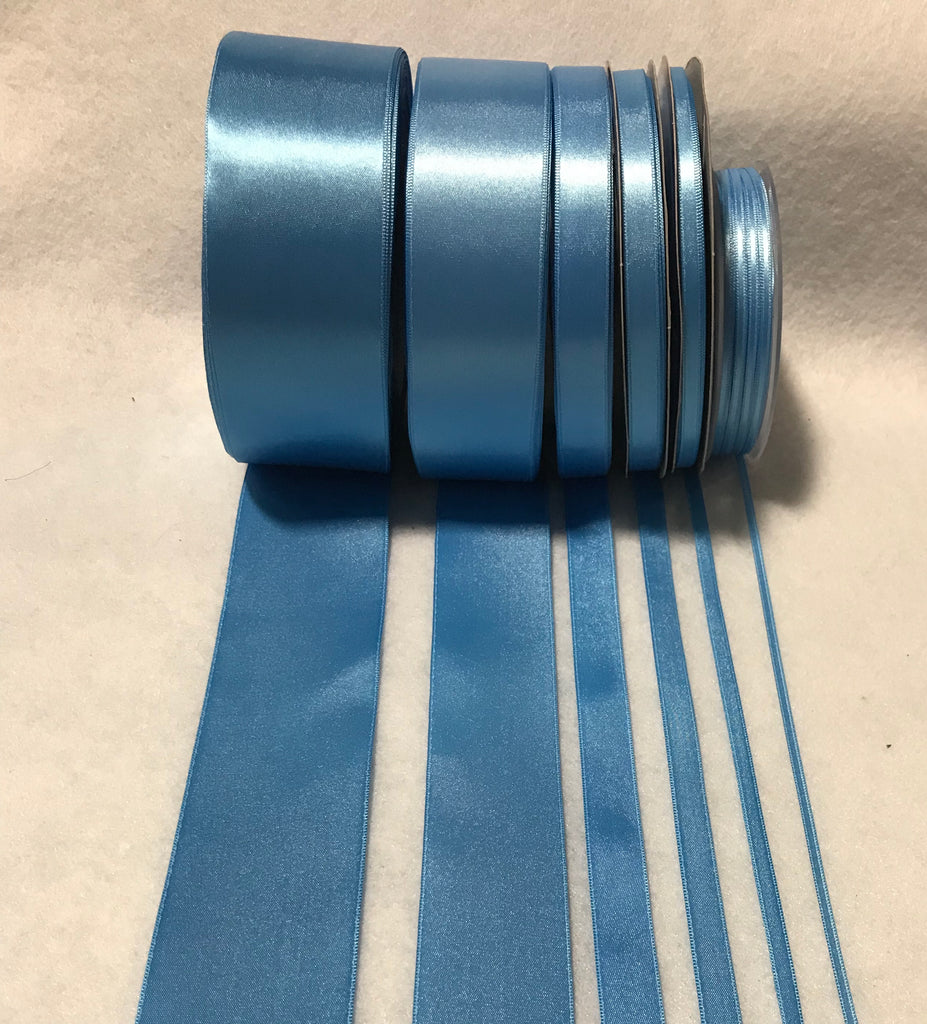 Sky Blue Double Sided Satin Ribbon - Made in France (7 Widths to choose from)