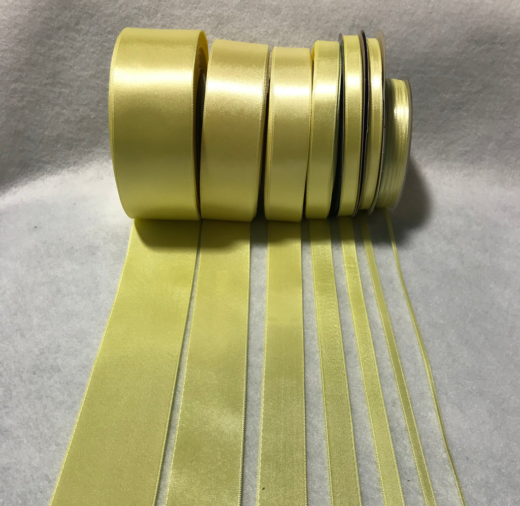 Light Yellow Double Sided Satin Ribbon - Made in France (7 Widths to choose from)