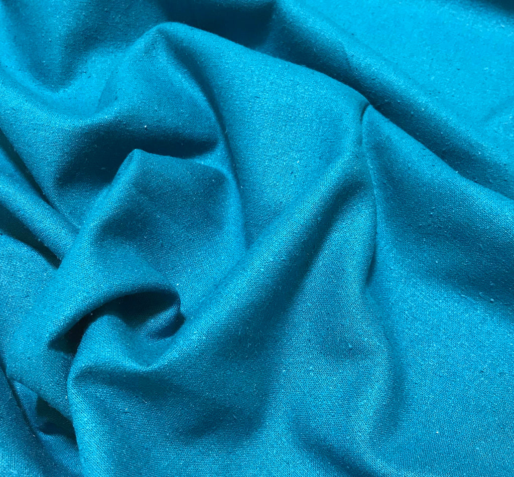 Teal Blue - Silk Noil