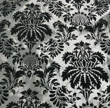 Silver with Black Small Damask - Flocked Velvet Faux Silk Taffeta Fabric