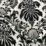 White with Black Small Damask - Flocked Velvet Faux Silk Taffeta Fabric