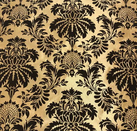 Gold with Brown Small Damask - Flocked Velvet Faux Silk Taffeta Fabric