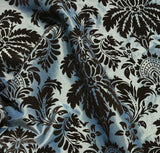 Golden Blue with Brown Small Damask - Flocked Velvet Faux Silk Taffeta Fabric