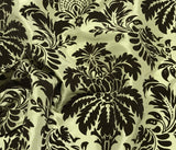 Sage Green with Brown Small Damask - Flocked Velvet Faux Silk Taffeta Fabric