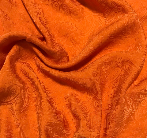 Pumpkin Orange Paisley - Hand Dyed Silk Jacquard