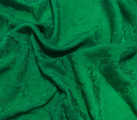 Emerald Green Paisley - Hand Dyed Silk Jacquard