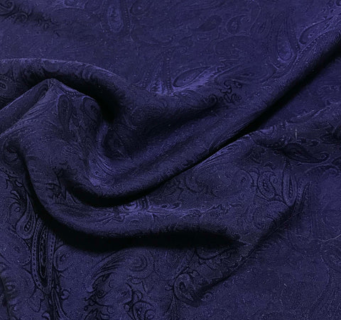 Midnight Blue Paisley - Hand Dyed Silk Jacquard