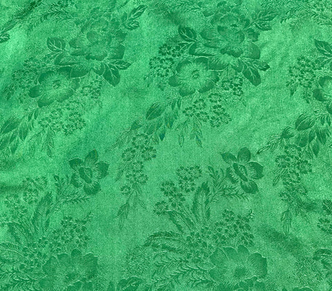 Spring Green Floral - Hand Dyed Silk Jacquard