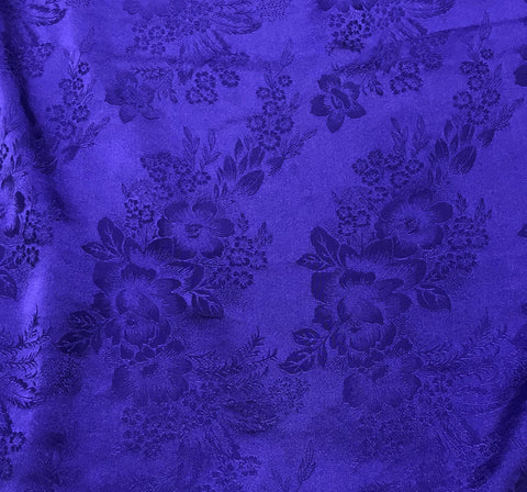 Violet Purple Floral - Hand Dyed Silk Jacquard