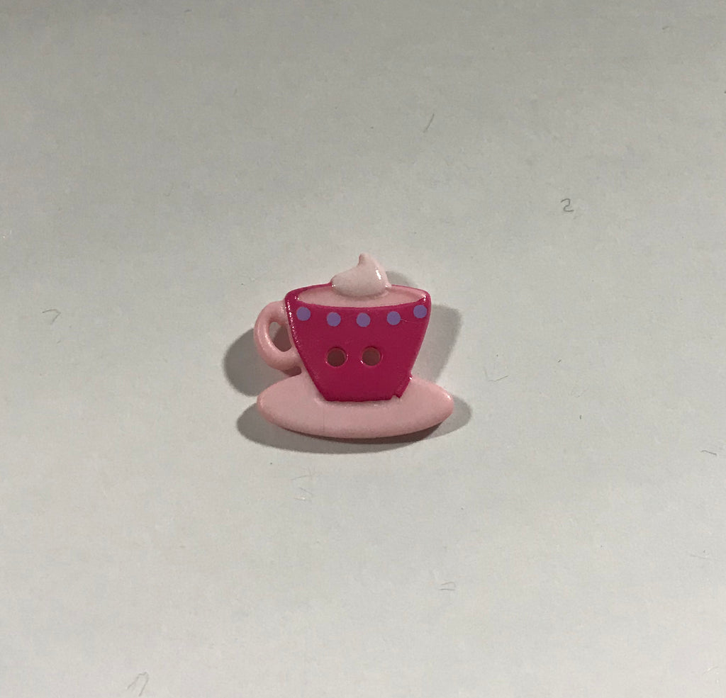 "Pink Teacup & Saucer Plastic Button 20mm/ 13/16"" - Dill Buttons Brand"