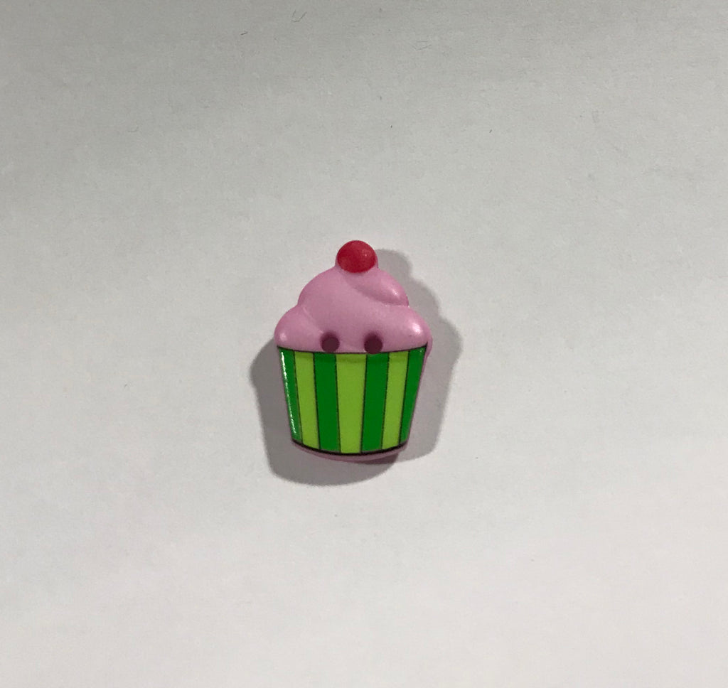 "Pink & Green Cupcake Plastic Button 20mm/ 13/16"" - Dill Buttons Brand"