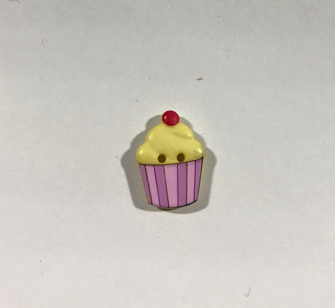 "Yellow & Pink Cupcake Plastic Button 20mm/ 13/16"" - Dill Buttons Brand"