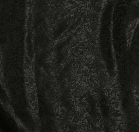 Black Baroque Scroll - Silk Jacquard