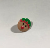 Elf Face Christmas Plastic Button - Dill Buttons Brand (2 Sizes to Choose From)