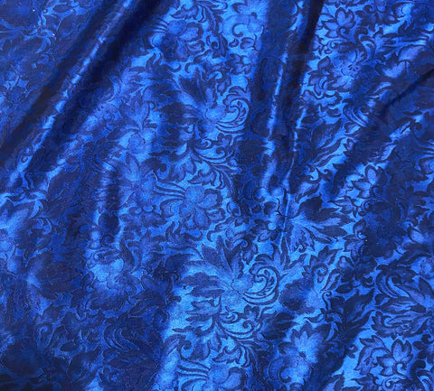 Royal Blue Baroque Scroll - Silk Jacquard