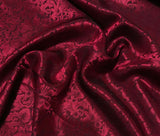 Burgundy Red Baroque Scroll - Silk Jacquard