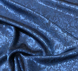 Dark Blue Baroque Scroll - Silk Jacquard