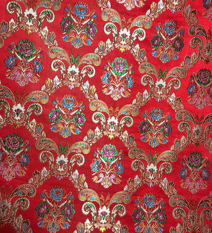 Red & Gold Floral Damask - Silk Brocade Fabric