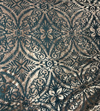 Pewter on Teal Damask - Burnout Stretch Polyester Velvet Fabric
