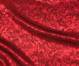 Red Scroll - Silk Jacquard
