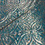 Dusty Mauve on Turquoise Damask - Burnout Stretch Polyester Velvet Fabric