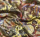 Yellow and Taupe Paisley - Silk Charmeuse