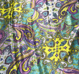 Lavender Periwinkle and Lime Paisley - Silk Charmeuse