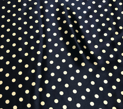 Navy and White Polka Dots - Silk Charmeuse