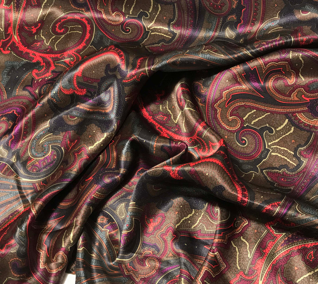 Brown and Red Paisley - Silk Charmeuse