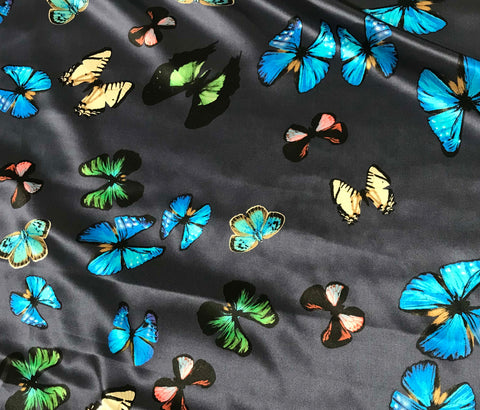 Blue with Butterflies - Silk Charmeuse