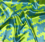 Lime and Blue Houndstooth - Silk Charmeuse