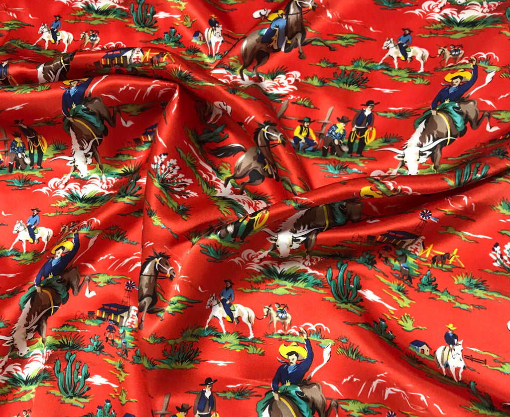 Red Western Ranch Cowboys - Silk Charmeuse