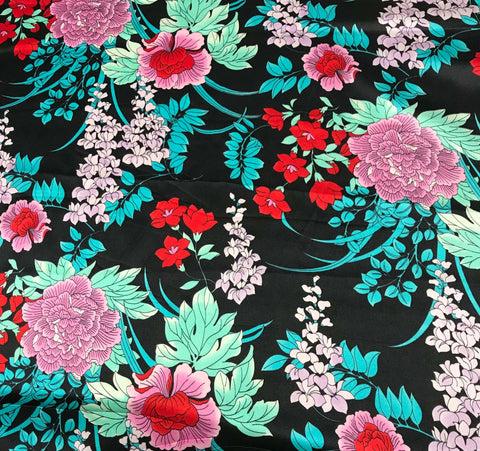 Purple Pink and Green Floral - Silk Charmeuse