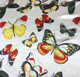 Butterflies on White - Silk Charmeuse