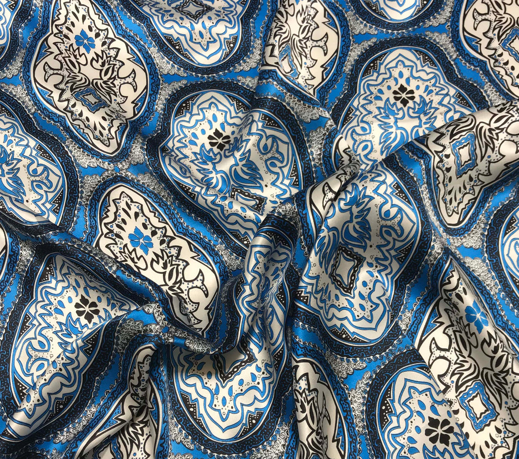 Blue Bandanna - Silk Charmeuse