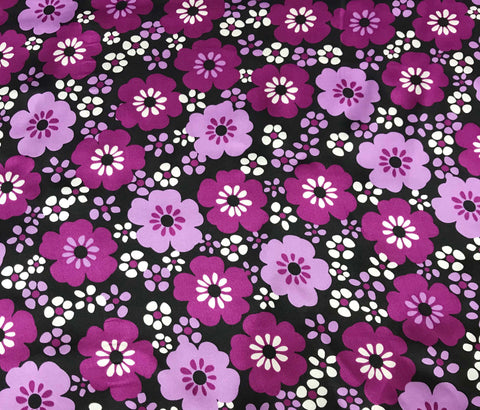 Flowers on Purple - Silk Charmeuse
