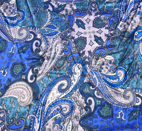 Blue and Lavender Paisley - Silk Charmeuse