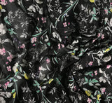 Black with Flowers - Polyester Chiffon Fabric