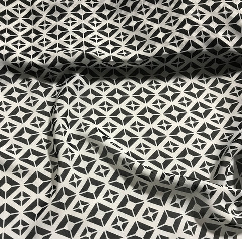Black & White Geometric - Polyester Chiffon Fabric