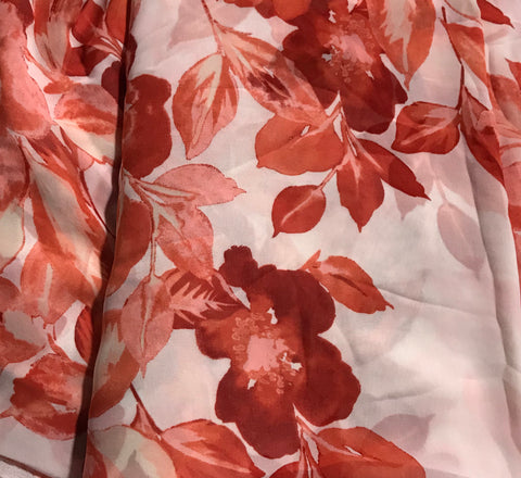 Coral Floral - Polyester Chiffon Fabric