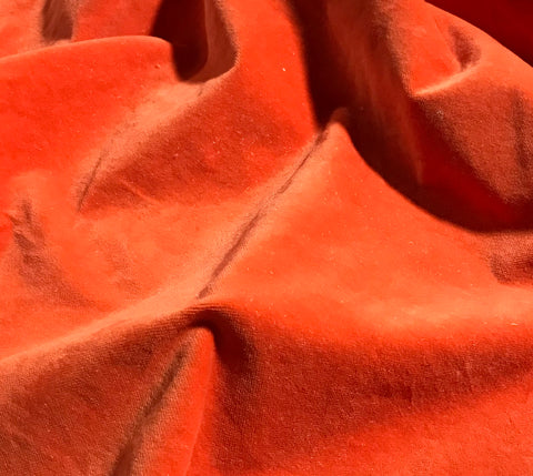 Pumpkin Orange  - Hand Dyed Cotton Velveteen
