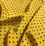 Mustard Yellow & Black Polka Dots - Hand Dyed Silk Charmeuse Fabric