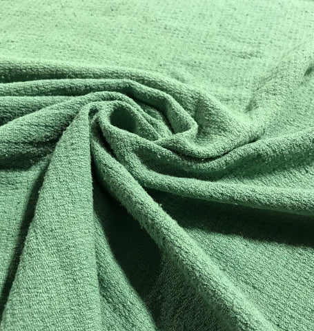 Sage Green - Hand Dyed Squares Weave Silk Noil