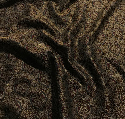 Burgundy & Gold Damask Jacquard Fabric