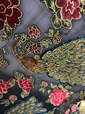 Peacocks - Burnout Silk Velvet Fabric