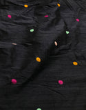 Black with Embroidered Polka Dots - Silk Dupioni Fabric