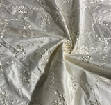 Ivory Embroidered Flowers - Silk Dupioni Fabric