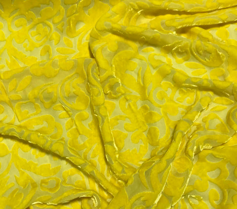 Sunshine Yellow Scroll - Hand Dyed Burnout Silk Velvet