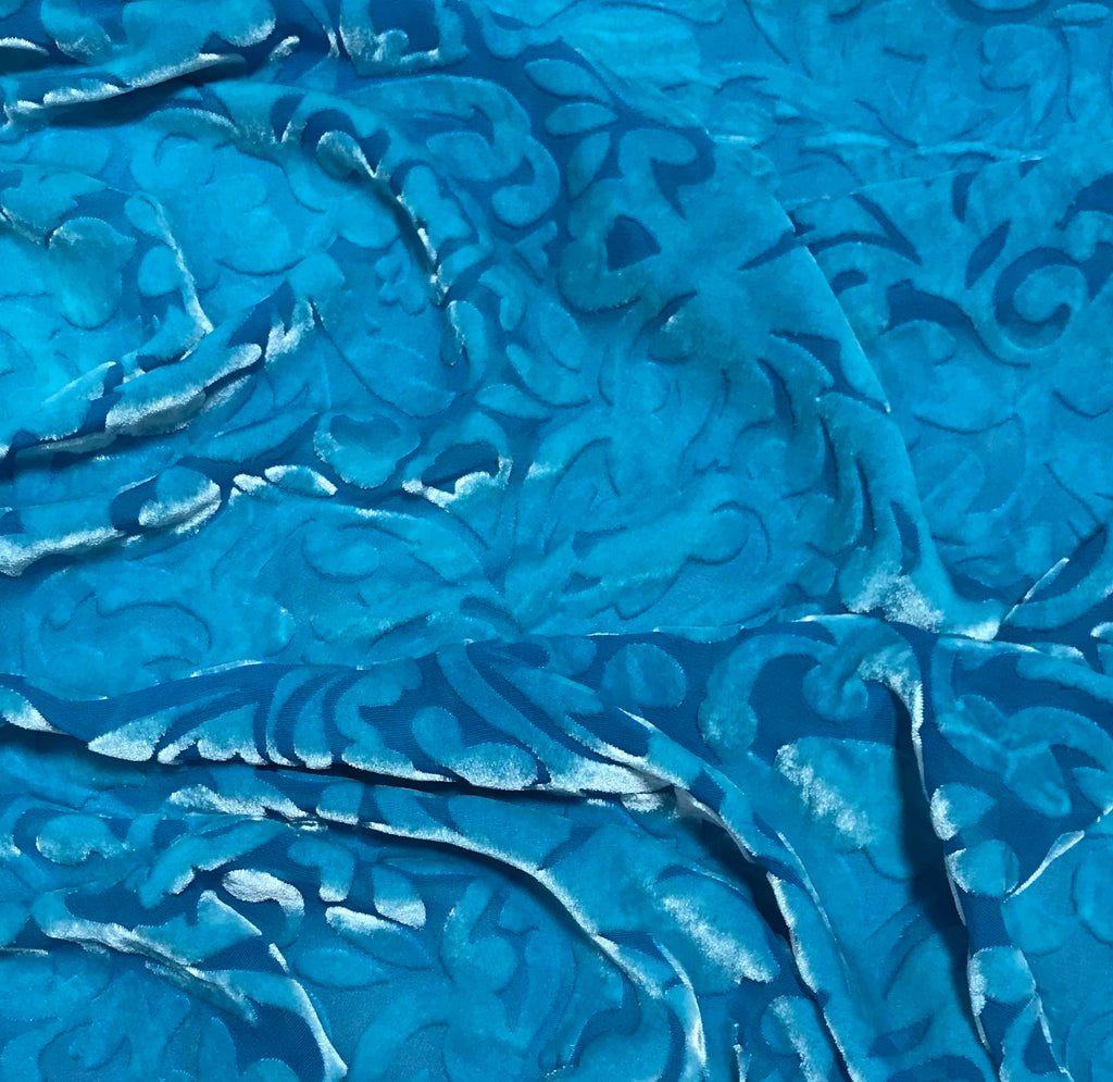 Turquoise Blue Scroll - Hand Dyed Burnout Silk Velvet
