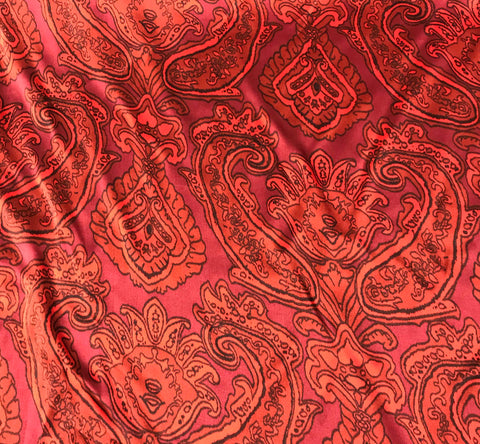 Red Paisley - Silk Charmeuse Fabric